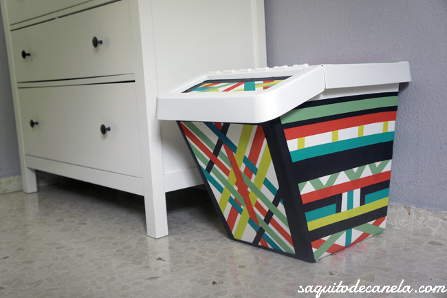 Caja para juguetes diy o un cubo de basura saquitodecanela for Cubo basura extraible ikea