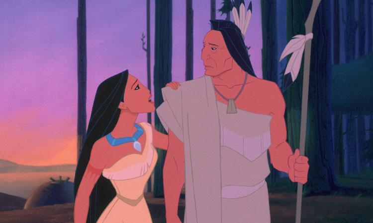 pocahontas, la princesa india y su padre