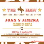 Invitación cumpleaños vaqueros