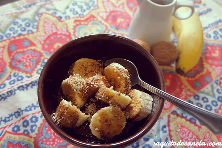 Plátano con chocolate y frutos secos