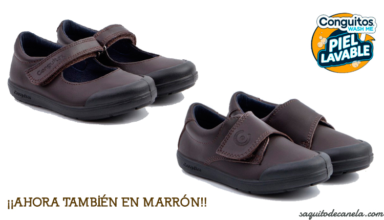 zapatos colegiales lavables marrones